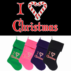 I Heart Christmas Screen Print 18 inch Velvet Christmas Stocking