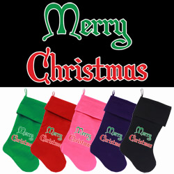 Merry Christmas Screen Print 18 inch Velvet Christmas Stocking