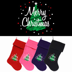Scribbled Merry Christmas Screen Print 18 inch Velvet Christmas Stocking