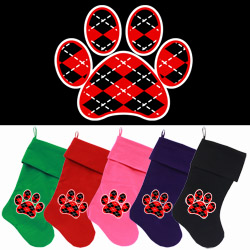 Argyle Paw Red Screen Print 18 inch Velvet Christmas Stocking
