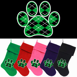 Argyle Paw Green Screen Print 18 inch Velvet Christmas Stocking