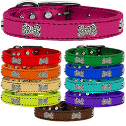 Genuine Metallic Leather Crystal Bone Collars