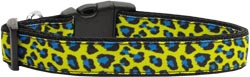 Blue and Yellow Leopard Nylon Dog Collars