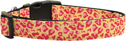 Tan and Pink Leopard Nylon Dog Collars