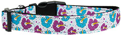 Blue and Purple Hibiscus Flower Nylon Dog Collar