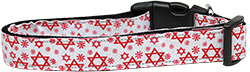 Star of David Red Nylon Dog Collar
