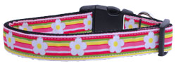 Striped Daisy Ribbon Dog Collars