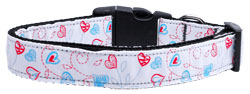 Patriotic Crazy Hearts Nylon Ribbon Dog Collars