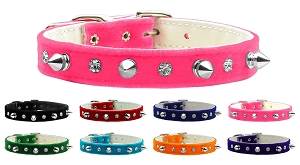Velvet Crystal and Spike Crystal Dog Collar