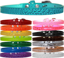 10mm Omaha Plain Croc Dog Collar