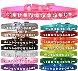 Pearl and Clear Jewel Croc Dog Collar