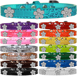 Silver Flower Widget Croc Dog Collar