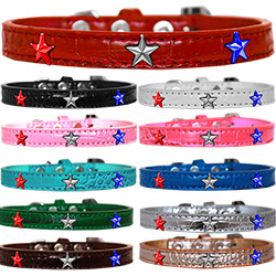 Red, White and Blue Star Widget Croc Dog Collar