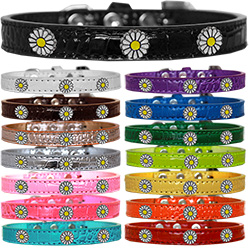 White Daisy Widget Croc Dog Collar