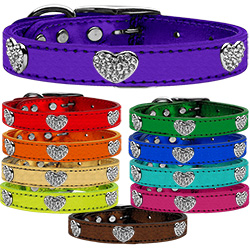 Crystal Heart Genuine Metallic Leather Dog Collar