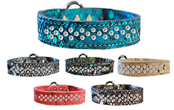 Sprinkle Clear Crystal Dragon Skin Leather Collars