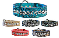Double Clear Crystal and Silver Spike Dragon Skin Leather Collars