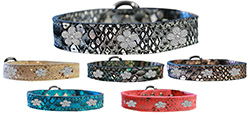 Silver Flower Widget Dragon Skin Leather Collars