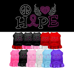 Peace Love Hope Breast Cancer Rhinestone Pet Dress