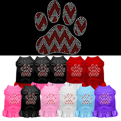 Candy Cane Chevron Paw Rhinestone Pet Dress