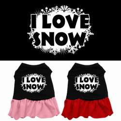 I Love Snow Screen Print Dress