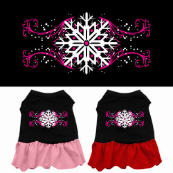 Pink Snowflake Screen Print Dress