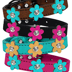Metallic Flower Leather collar