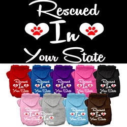 Rescued in Utah Screen Print Souvenir Dog Hoodie