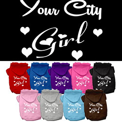 Washington D.C. Girl Screen Print Souvenir Dog Hoodie