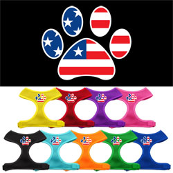 Paw Flag USA Screen Print Soft Mesh Harness