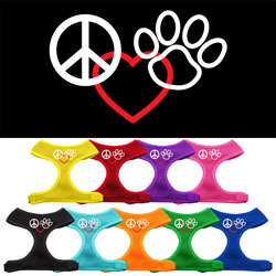 Peace, Love, Paw Design Soft Mesh Harnesses