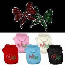 Christmas Bows Rhinestone Pet Hoodies