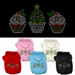 Christmas Cupcakes Rhinestone Pet Hoodies