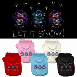 Let it Snow Penguins Rhinestone Pet Hoodies