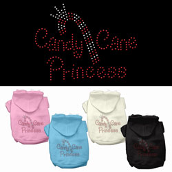 Candy Cane Princess Rhinestone Pet Hoodies