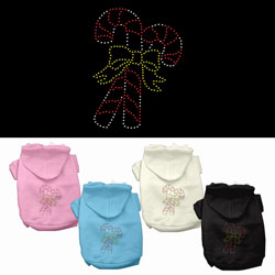 Candy Cane Rhinestone Pet Hoodies