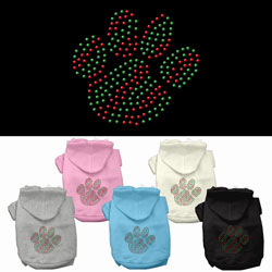 Holiday Paw Rhinestone Pet Hoodies