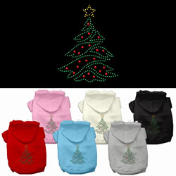 Christmas Tree Rhinestone Pet Hoodies