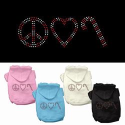Peace, Love and Candy Canes Rhinestone Pet Hoodies