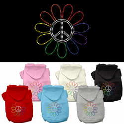 Rainbow Flower Peace Sign Rhinestone Hoodie