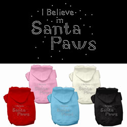 I Believe in Santa Paws Rhinestone Pet Hoodies