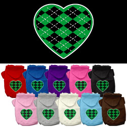Argyle Heart Green Screen Print Pet Hoodies