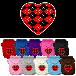 Argyle Heart Red Screen Print Pet Hoodies
