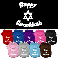 Happy Hanukkah Screen Print Pet Hoodies