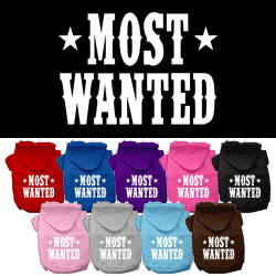 Most Wanted Screen Print Pet Hoodies