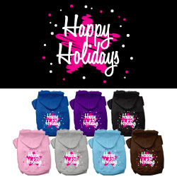 Scribble Happy Holidays Screenprint Pet Hoodies