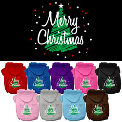 Scribbled Merry Christmas Screenprint Pet Hoodies