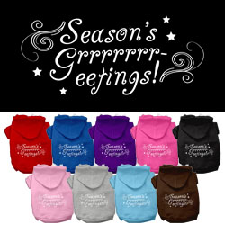 Seasons Greetings Screen Print Pet Hoodies