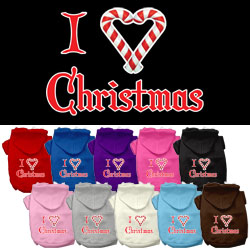 I Heart Christmas Screen Print Pet Hoodies