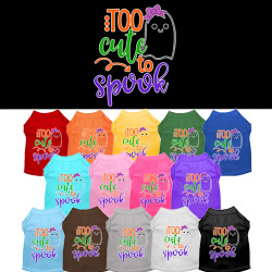 Too Cute to Spook-Girly Ghost Screen Print Dog Shirt